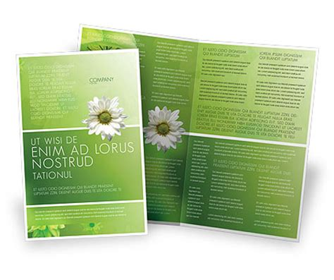 green flowers brochure template design and layout