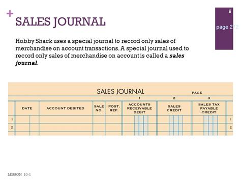 sle of journal lesson 10 1 journalizing sales on account using a sales