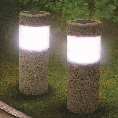 1pc Solar Power Stone Pillar W Hite Led Solar Lights Solar Pillar Lights Outdoor