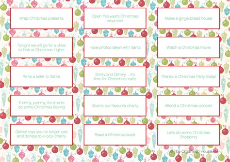 printable homemade advent calendar items to put in advent calendar the organised housewife