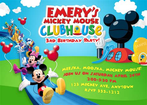 mickey mouse clubhouse invitation template free free mickey mouse clubhouse photo birthday invitations