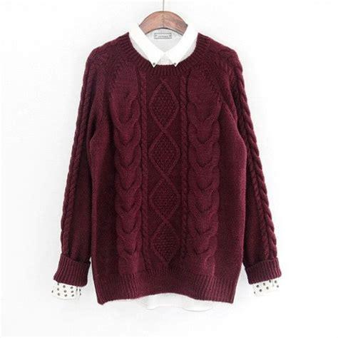 Sweater Rajut Cable Saku Series Knitted Sweater Winter Sweater sweater burgundy sweater knit cable knit