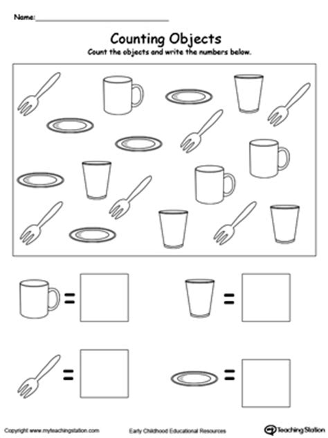 Count And Write Number Worksheets For Kindergarten by Count And Write The Number Of Objects Myteachingstation