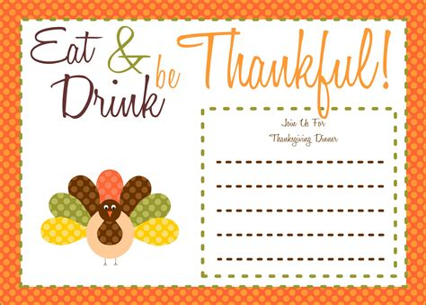 Free Thanksgiving Printables From The Party Bakery Catch My Party Free Thanksgiving Invitation Templates