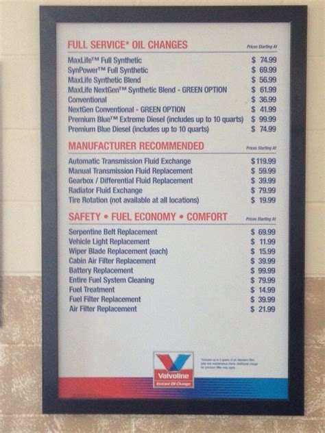 meineke change price valvoline change price and additional service pricing