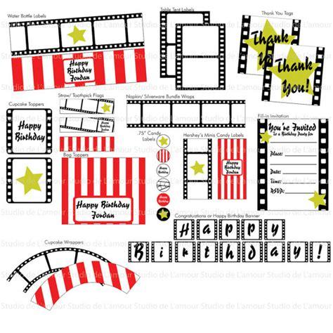 printable hollywood decorations items similar to printable pdf movie hollywood theme