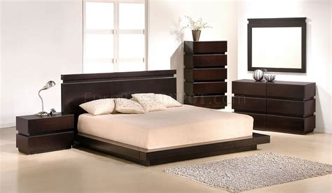 contemporary platform bed knotch bedroom by j m cappuccino finish contemporary