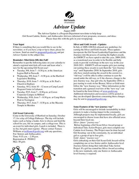 newsletter layout doc girl scout newsletter ideas document sle daisy