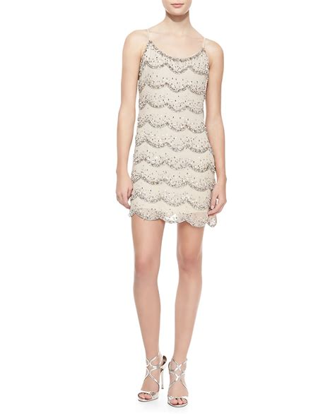 beaded shift dresses cusp wes scalloped beaded shift dress in beige clear