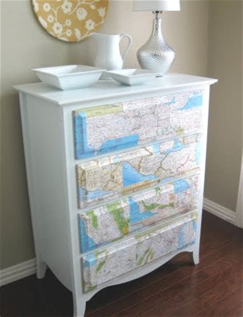 Decoupage Dresser Ideas - sea map decoupage ideas for canvas dressers letters