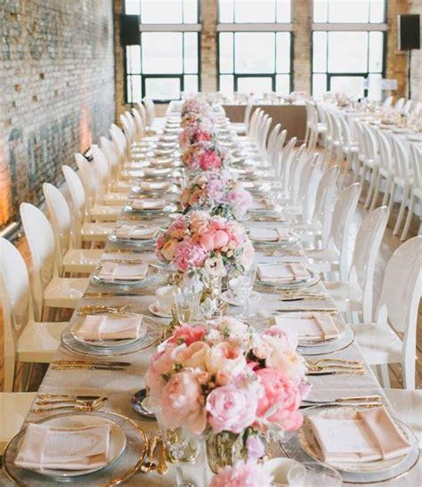 Long Table Pink Wedding Centerpiece  Photography Mango