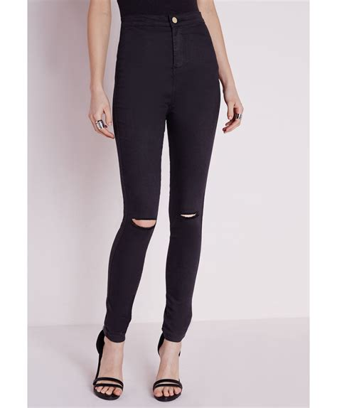 High Waist Ripped missguided high waist ripped knee black in