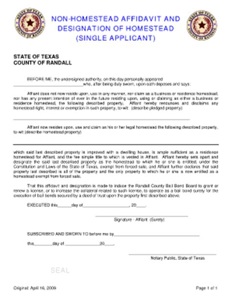 texas constitution article xvi section 50 a 6 designation of homestead and non homestead affidavit