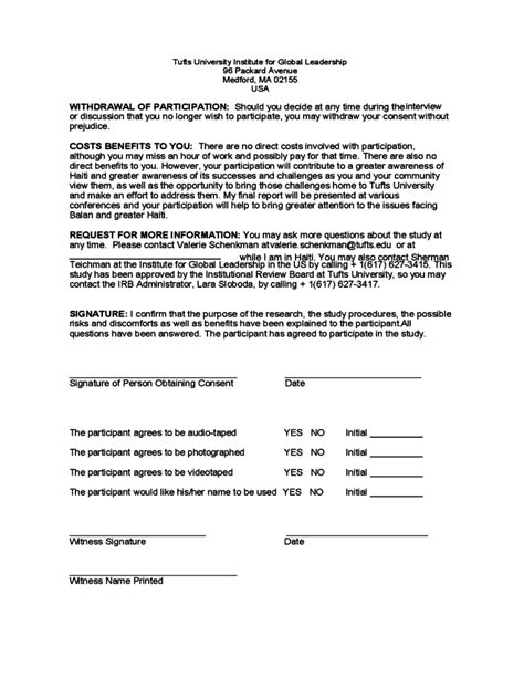 Letter Of Consent For Research Exle Research Consent Form Sle Tufts Free