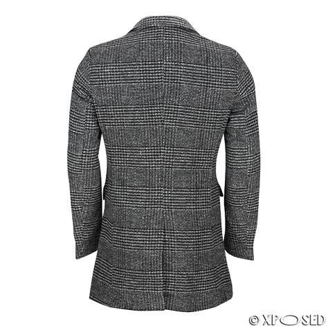 Kemeja Check Black Darkgrey mens black grey tweed check herringbone breasted jacket slim fit overcoat ebay