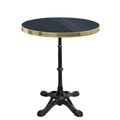 table bistrot pas cher table bistrot ronde noir avec cerclage en laiton pied