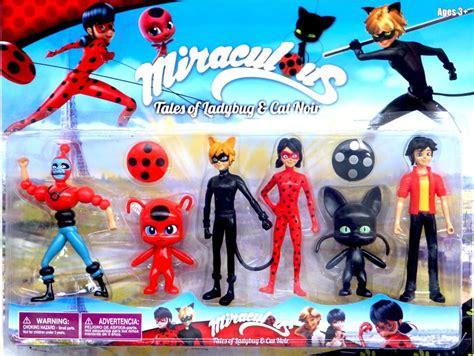 Figure 1 Set 6 Pcs 6pcs set miraculous ladybug cat noir adrien marinette plagg tikki pvc figure doll