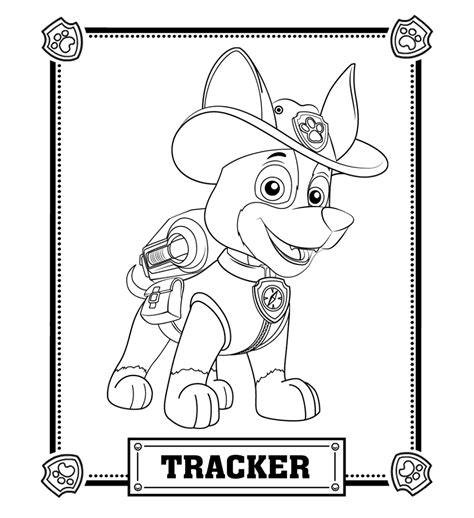 paw patrol birthday coloring pages paw patrol tracker coloring pages trevon pinterest