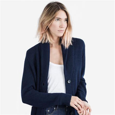 navy chunky knit cardigan the chunky knit cardigan navy from everlane outerwear