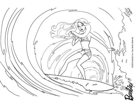 barbie surfer coloring pages merliah goes deep in the sea free printable coloring pages