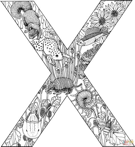 x coloring books letter x with animals coloring page free printable