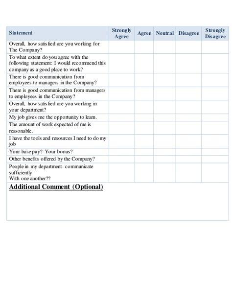 employee satisfaction survey questionnaire