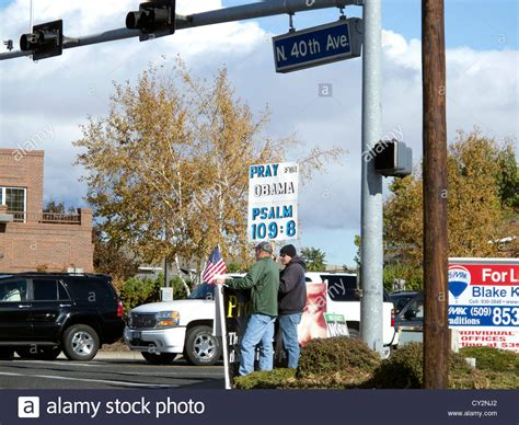 Yakima Wa October 20 Two Anti Obama Supporters Holding An Indiana Supporter Snuck A Anti Obama