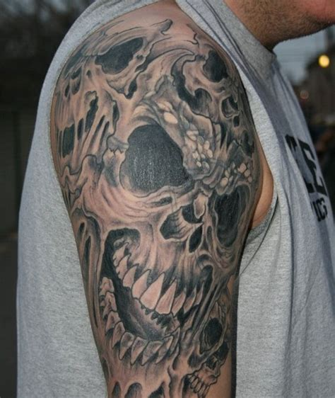 skull rose sleeve tattoo and skull designs skull tattoos sleeves