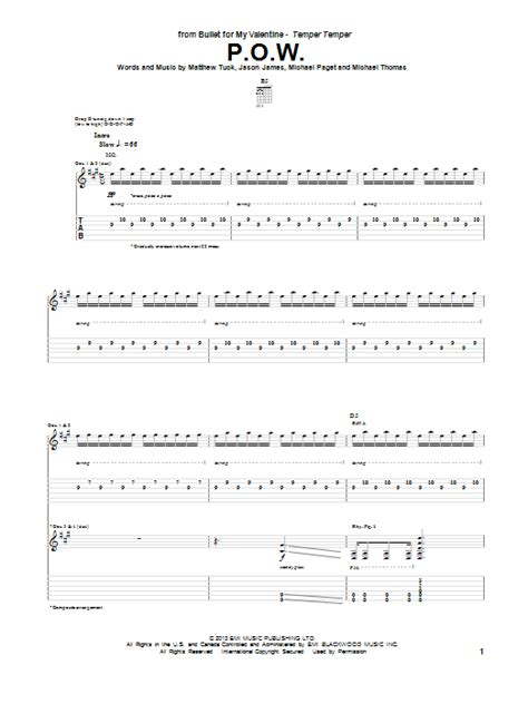 bullet for my tab p o w by bullet for my guitar tab guitar