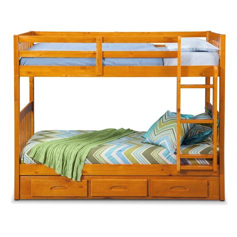 Bunk Bed Pine Ranger Storage Bunk Bed Pine American Signature Furniture