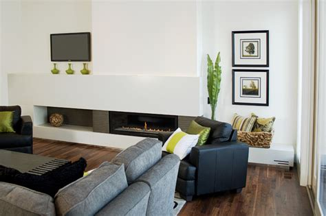 Modern Living Room Furniture Calgary Fifth Element Concrete Splash And Fireplace Surround