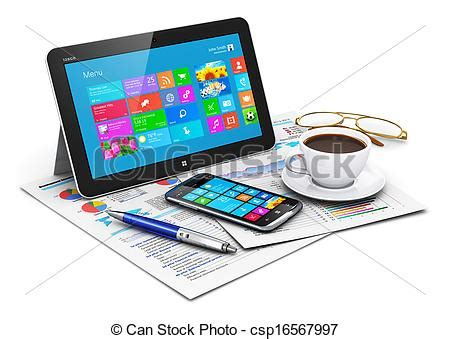 t駘馗harger icones bureau illustration de objets informatique tablette business