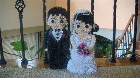 3d Origami Wedding - 3d origami and groom by wonderfold on etsy
