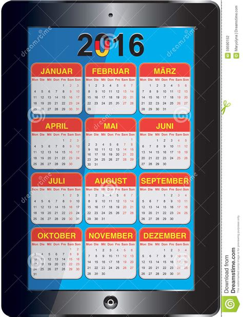 Calendrier Allemand Calendrier Allemand 2016 Illustration Stock Image 59590152