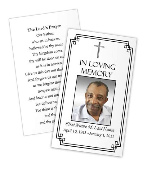 classic cross prayer card template funeral card
