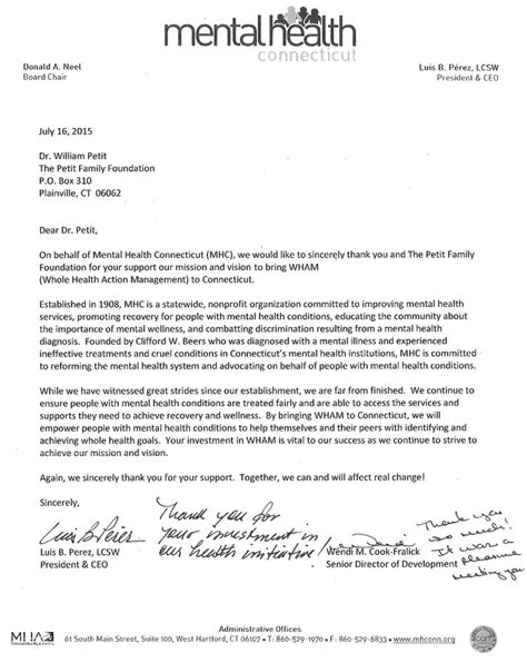 Thank You Letter For Behavioral Petit Family Foundation Grants Awarded