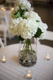 wedding centerpieces hydrangeas white hydrangea centerpieces with rocks pretty simple