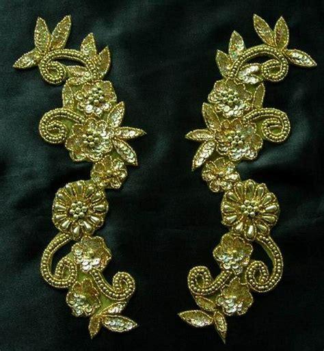 gold applique lr18 floral mirror pair sequin beaded applique hologram