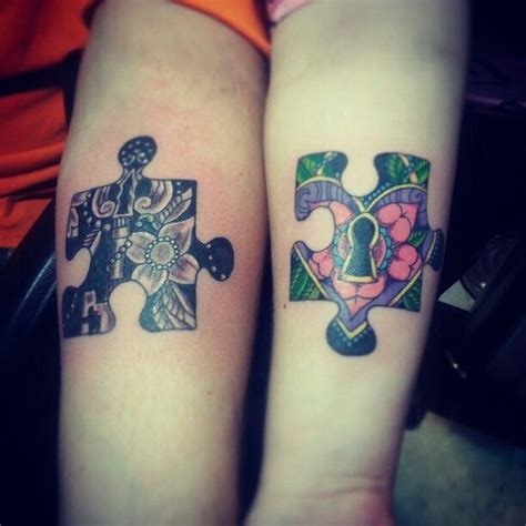 couples puzzle tattoos me and hubby got a couples two puzzle pieces with