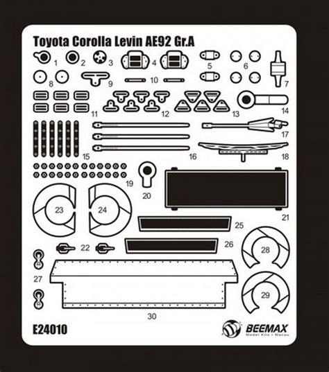 Aoshima Scale 124 Toyota Corolla Levin Ae92 88 Gr A 09827 aoshima 1 24 beemax detail up parts no 12 toyota corolla levin ae92 88 gr a
