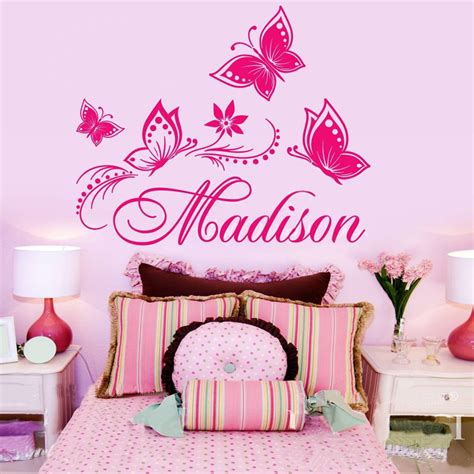 personalized wall decor for home personalized custom name butterflies flower name vinyl