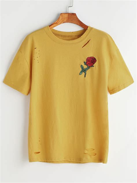 embroidery design t shirts mustard ripped rose embroidered tshirt