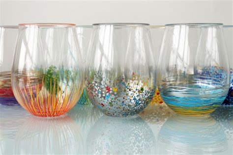 acrylic painting in glass add a pop of color to your glassware brit co