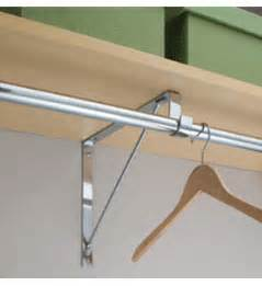 shelves with clothes rods closet rod flange and shelf support bracket organization