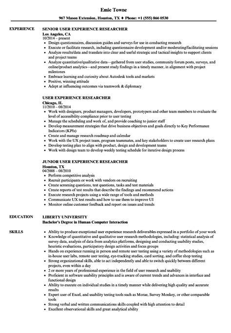 user experience researcher resume sles velvet