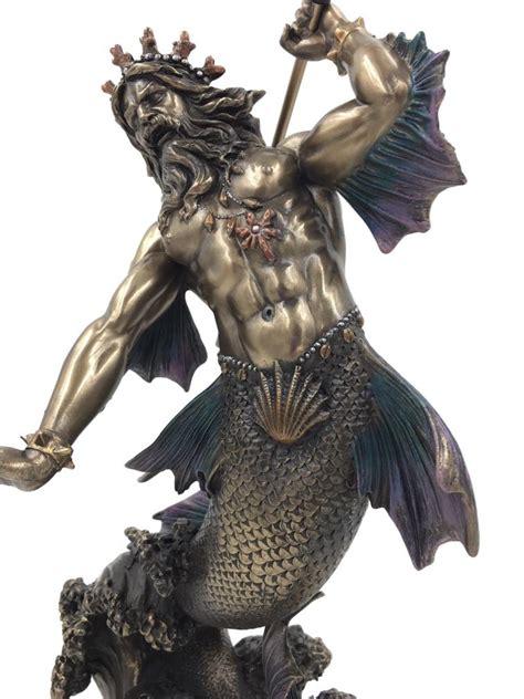 poseidon  merman holding trident neptune greek god   sea statue