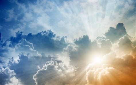 wallpaper sinar matahari langit awan awan pagi