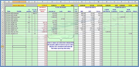 accounting template bookkeeping spreadsheet template excel for uk excel