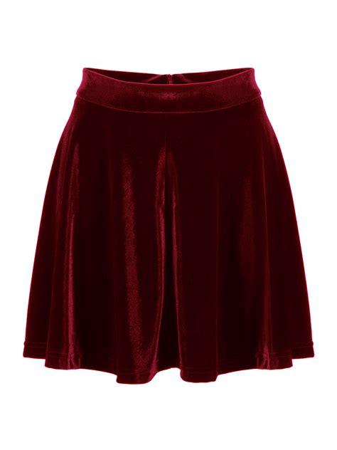 burgundy high waist velvet skater skirt choies