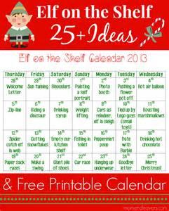 25 on the shelf ideas with printable calendar an